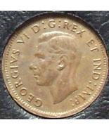 KM#32 1947 Canadian George VI Cent With Leaf AU #0596 - $1.89