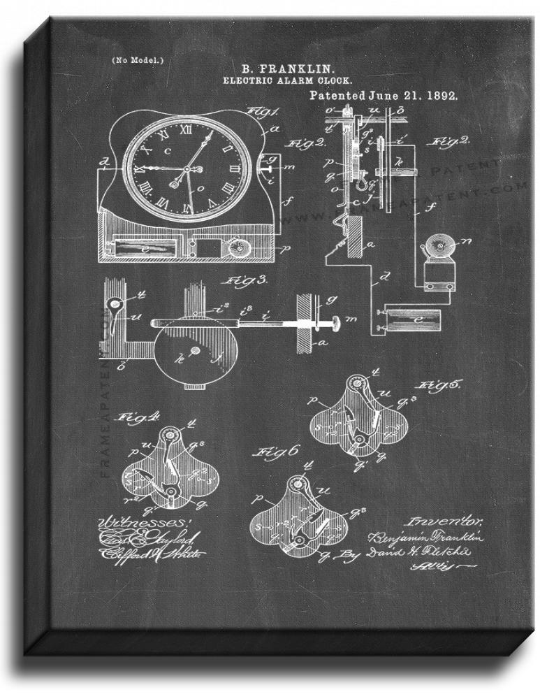 Primary image for Electrical Alarm Clock Patent Print Chalkboard on Canvas