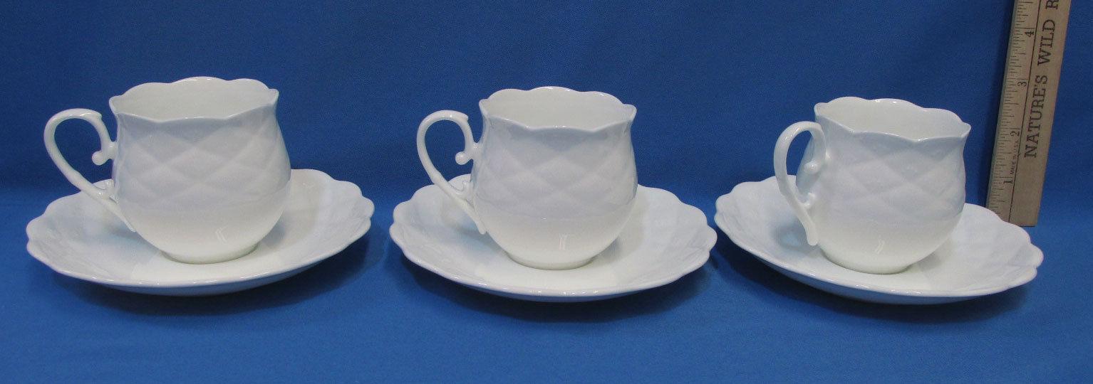 Set 3 Cups & Saucers Simple White Design Haengnamsa Bone China Dots Scalloped