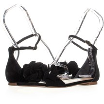 Steve Madden Dorthy Flat Ankle Strap Sandals 947, Black Suede, 7.5 US - $42.23