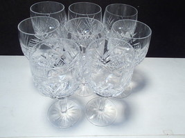 8 Gorgeous Cut Crystal Wine Stems ~~ unknown - $59.95