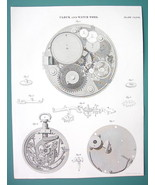 REPEATING WATCH & Clock Work - c. 1835 Fine Quality Antique Print - $19.09