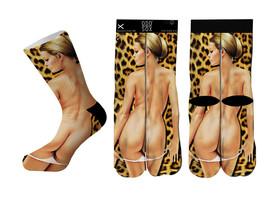Odd Sox OSWIN16BACK Backshots Cheetah Print Socks