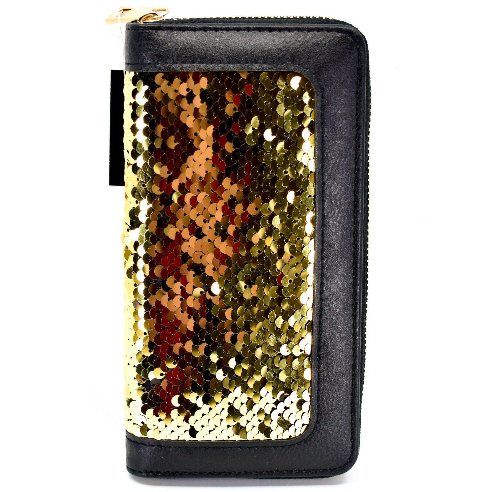 Bijorca Faux Leather Black & Gold Sequin Zip Around Clutch Wallet