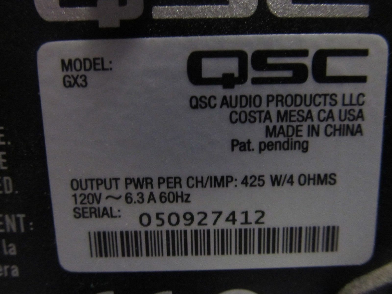 OEM QSC GX3 power amplifier model GX3 and 50 similar items Qsc Gx Schematic on