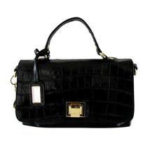 Badgley Mischka Black Croco Leather Satchel Handbag Purse  - $38.00