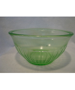 U S Glass co. Green Vaseline glass mixing bowl . - $25.00