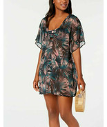 Bar III Bali Nights Printed Sheer Tunic Cover-Up Dress XS Tropical Black... - $24.70
