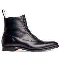 Handmade Men's Black High Ankle Lace Up Leather Boots image 4