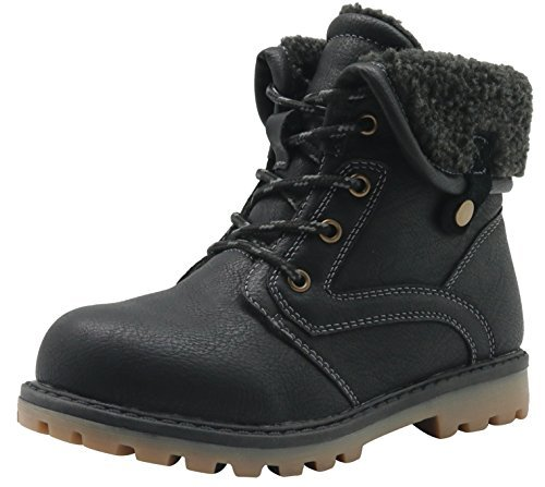 Apakowa New Boy's Winter Martin Boots Toddler/Little Kid 9 M US Toddler, Black