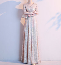 Women Maxi Sequin Dress Sleeved High Waist Sequin Maxi Formal Dress, Pink Sequin image 5