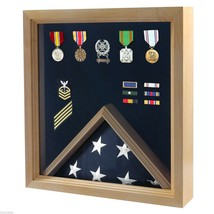 USA MADE SOLID WOOD OAK FINISH MILITARY FLAG MEDAL DISPLAY CASE SHADOW BOX - $234.64