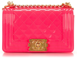 NEW AUTHENTIC CHANEL BRIGHT NEON PINK PATENT LEATHER SMALL BOY FLAP BAG GHW image 1