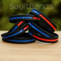 Set of CHILD Size Thin COMBINED Thin Red and Blue Line Police Fire Wrist... - $5.82+