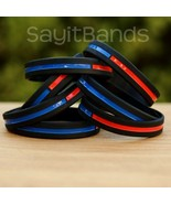 Set of CHILD Size Thin COMBINED Thin Red and Blue Line Police Fire Wrist... - £4.24 GBP+