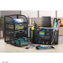Desk Organizer Set Supplies Caddy Black Mesh 2 Piece Oval 3 Drawer Mini ... - $35.88