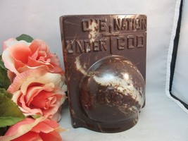 Vtg Book end. One Nation Under God. Pledge with cross and globe. Brown - $22.99