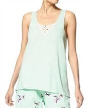 Hue Green Seamless Tank Top With Cooling Medallion Lace Sleep Tank Casual Small - $19.79
