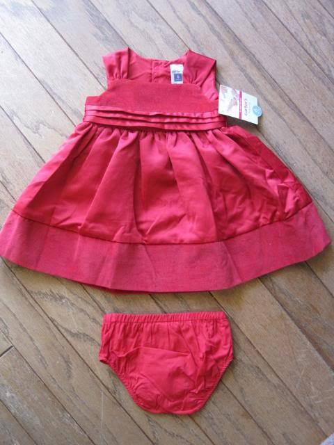 Girls Red Dress Baby Size 6 months Carter's 2 pc set New