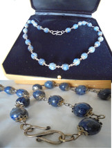 NECKLACE in LAPIS LAZULI and clip in silver sterling 925 Original 1970s - $89.00