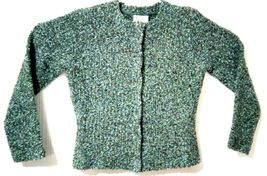 Talbots Petites Women's M Blue Green Wool Snap Buttons Sweater Cardigan image 5