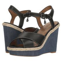 Coach Eaton Black Leather Denim Wedge Sandals Size 9.5 NIB G2232 - $93.56