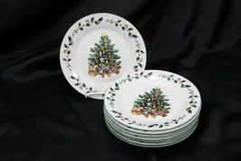 "Gibson Tree Trimmings Xmas Salad Plates 7.75"" Set of 8 - $57.33"