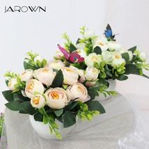 JAROWN Artificial Flowers Rose Quality Ceramics Vase +Silk Flowers Artif... - $10.50