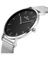 White Stainless Steel Slim Mesh Strap Men Watch Quartz Watch Black Face - $58.90