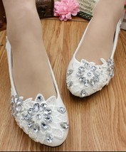 Women Crystals Wedding Shoes,White Rhinestone Lace bridal Shoes Flats - £32.59 GBP