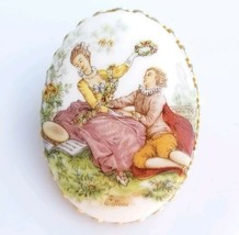 Victorian Pocelain Limoges Brooch Painted Scene by Watteau  - $27.72
