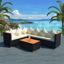 vidaXL Garden Sofa Set 21 Piece Wicker Poly Rattan Black WPC Outdoor Fur... - $575.99