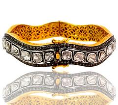 5.29 ct Rose Cut Diamond Pave 14k Gold Bangle Bracelet Sterling Silver J... - $2,921.73