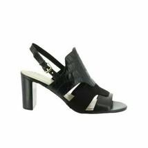 Isaac Mizrahi Genie Women Slingback Sandals Size US 7M Black Croc Print Leather - $27.00