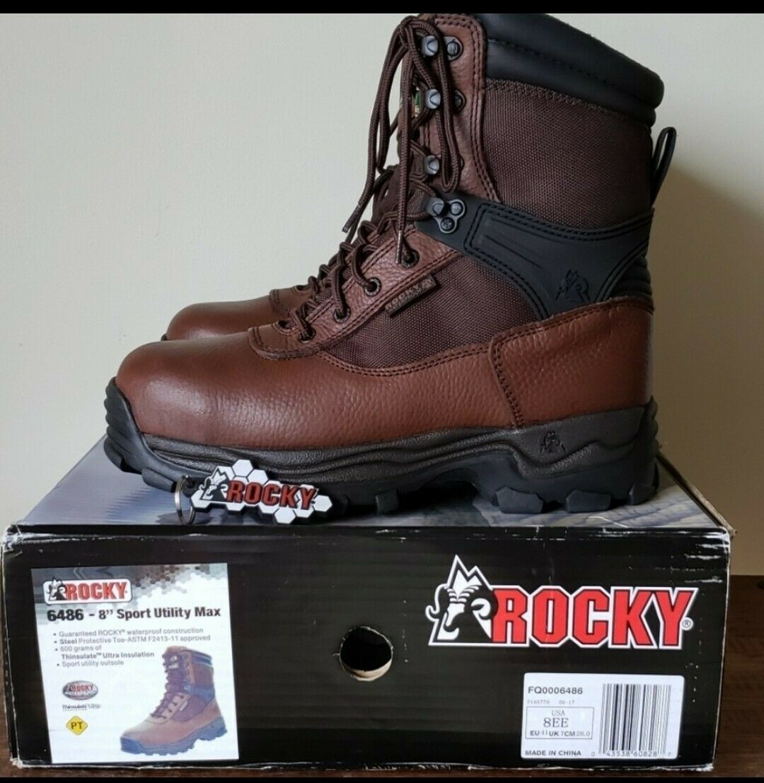 "Primary image for *NEW* ROCKY 6486-8"" SPORT UTILITY MAX BOOTS SIZE 8 EE"