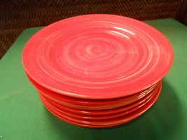 "Home Essentials Brush Strokes Collection- Fiesta Red...8 Bread Plates 7.5"" - $39.19"