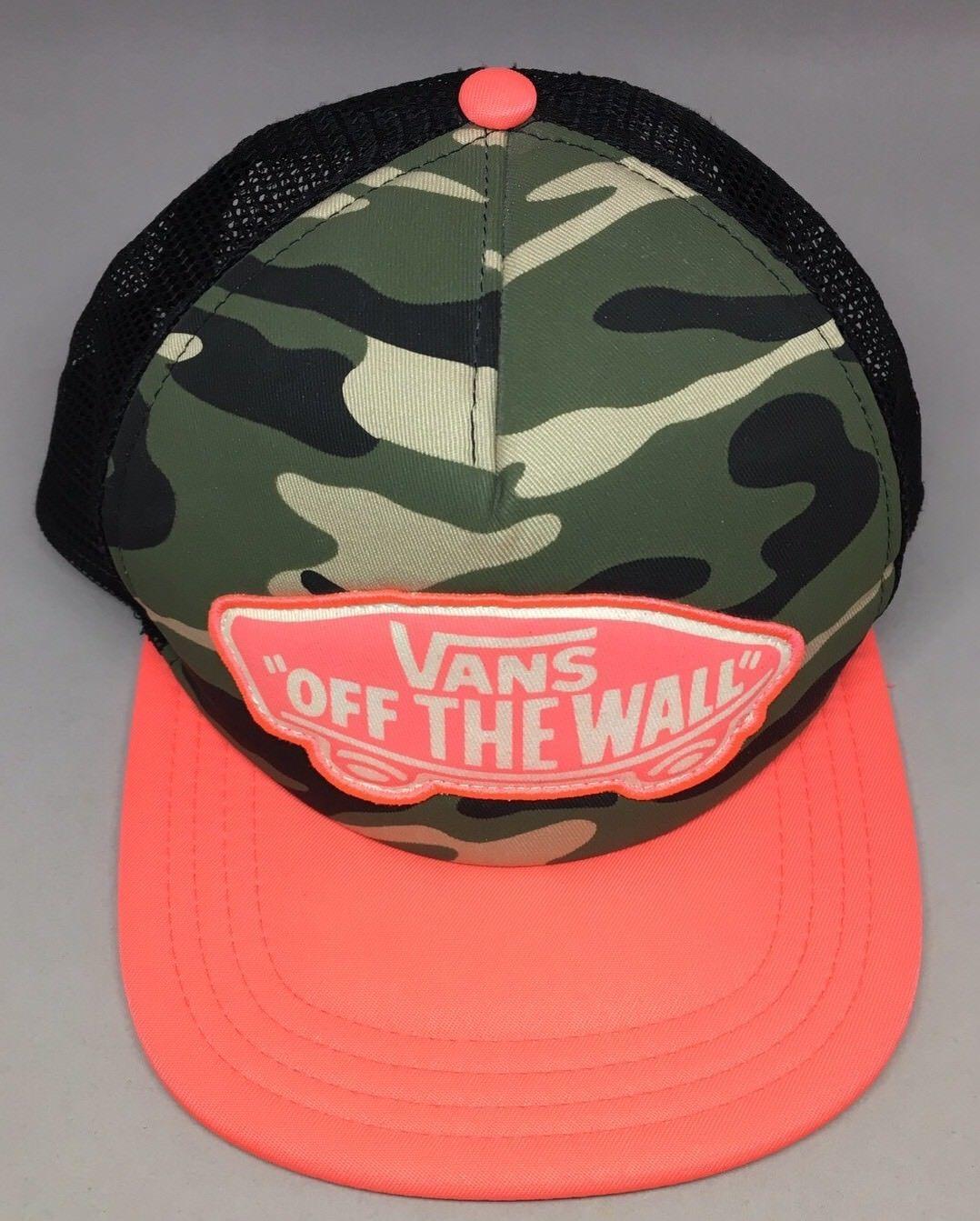 66d73d404818e Vans SnapBack Hat Off The Wall Camo HOT NEON Pink Mesh Trucker Cap  Camouflage