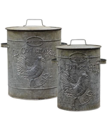 Farmhouse Kitchen 2/ Set Galvanized Metal Rooster Canisters  - $89.99