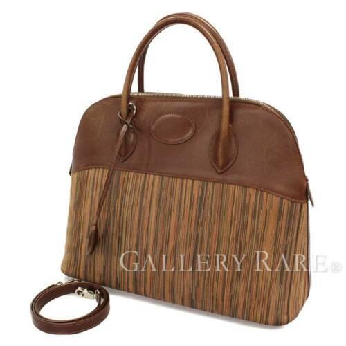 HERMES Bolide 35 Vibrate Brown Handbag Shoulder Bag #D Authentic 5473007