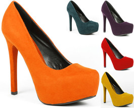 Velvet Almond Toe High Stiletto Heel Platform Pump Qupid Marquise-06 - $9.99