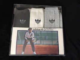 VTG Vintage Adidas Trefoil Men's Athletic Socks 3-Pack Black White Grey ... - $129.99