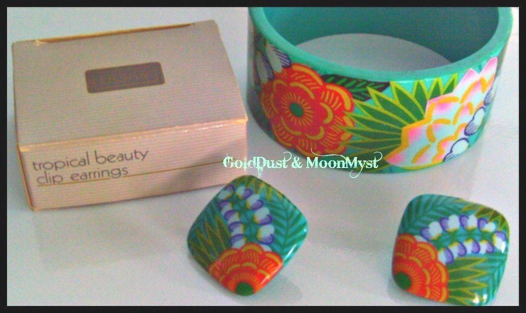 Vintage Avon Tropical Beauty island flowers clip earrings & bangle bracelet set