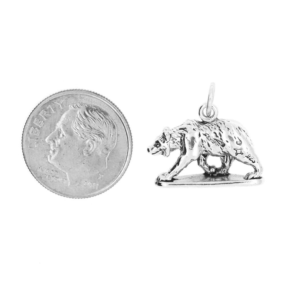 STERLING SILVER TRAVEL 3D BEAR BAR HARBOR MAINE CHARM PENDANT image 2