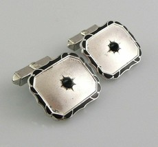 BIG Vintage 1940s Handmade Sterling Enamel & Black Onyx Cufflinks and Tie Bar SE - $225.00