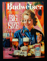 Vintage 1961 Budweiser big size beer retro party girl advertisement prin... - $11.38