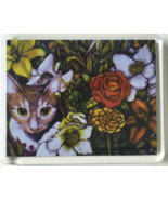 Cat Art Acrylic Large Magnet - Rudy with Flowers - $6.00