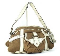 Auth CELINE Paris Brown Fabric Canvas & Cream Leather Semi Shoulder Bag Purse  - $137.61
