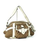 Auth CELINE Paris Brown Fabric Canvas & Cream Leather Semi Shoulder Bag ... - $137.61