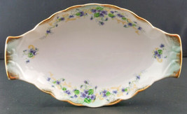 LEFTON Handpainted VIOLETS Dresser Tray pin tray Relish Dish gold trim 1380V - $12.99