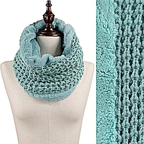 Mint Green Faux Fur Trim Rib Knit Loop Infinity Cowl Neck Scarf Wrap image 2